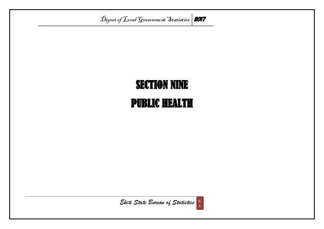 Digest of Local Government Statistics 2017 Ekiti State Bureau of Statistics 6 2 SECTION NINE PUBLIC HEALTH