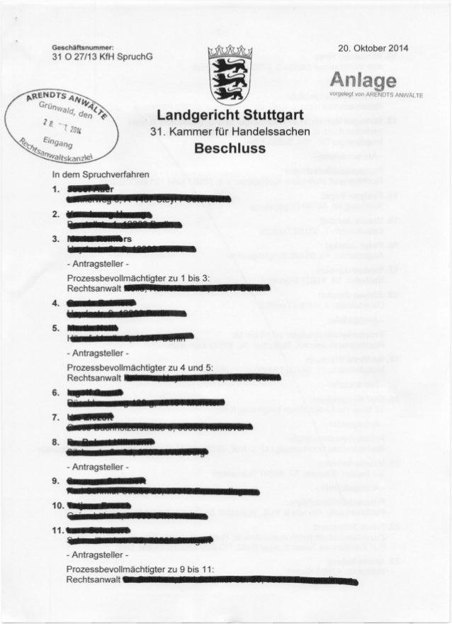 Geschaftsnummer:  31 0 27/13 KfH SpruchG  31. Kammer fur Handelssachen  Beschluss  1In. dem Spruchverfahren !! !ELr  2.  3...