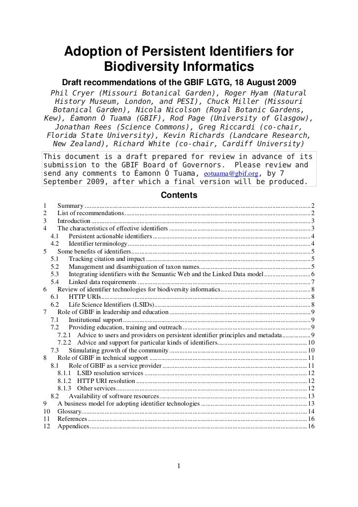Adoption of Persistent Identifiers for                Biodiversity Informatics          Draft recommendations of the GBIF ...