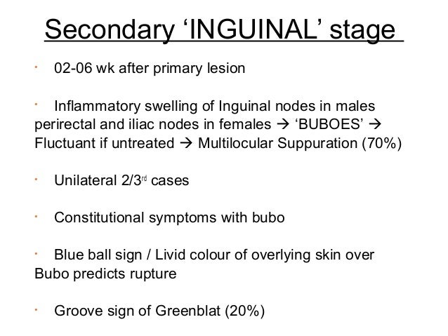 Secondary 'INGUINAL' stage •  02-06 wk after primary lesion  Inflammatory swelling of Inguinal nodes in males perirectal a...