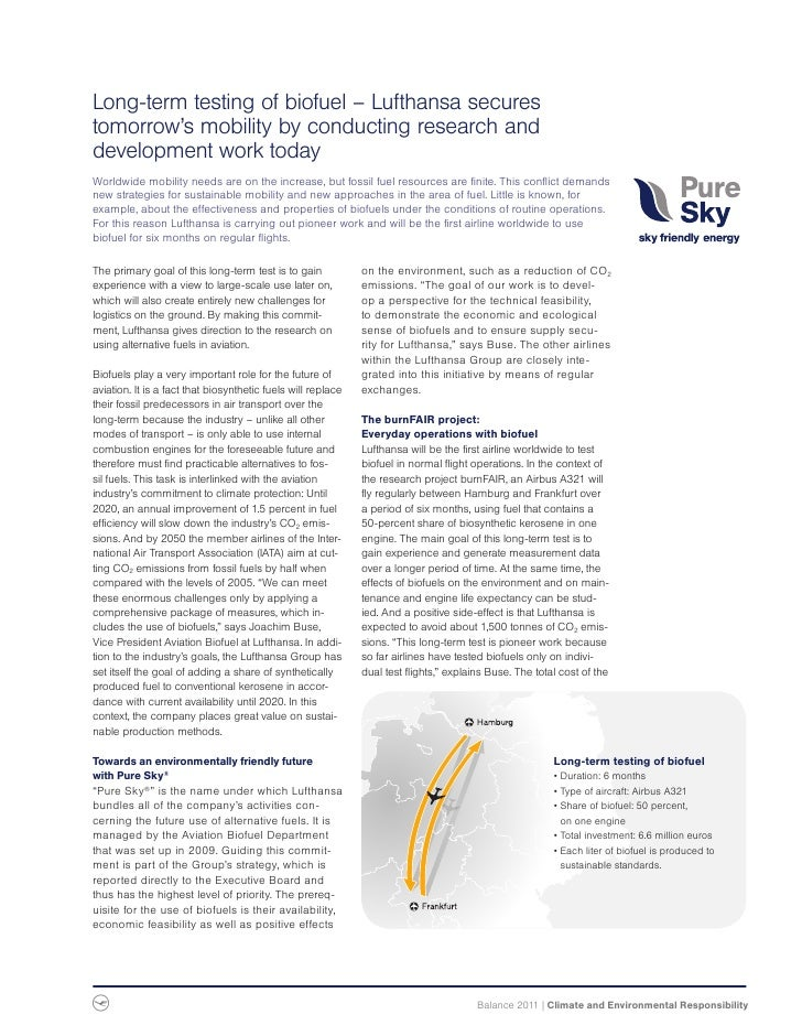 Long-term testing of biofuel – Lufthansa securestomorrow's mobility by conducting research anddevelopment work todayWorldw...