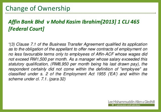 Change Of Ownership In Business Its Impact On The Contract of Employ – Business Transfer Agreement