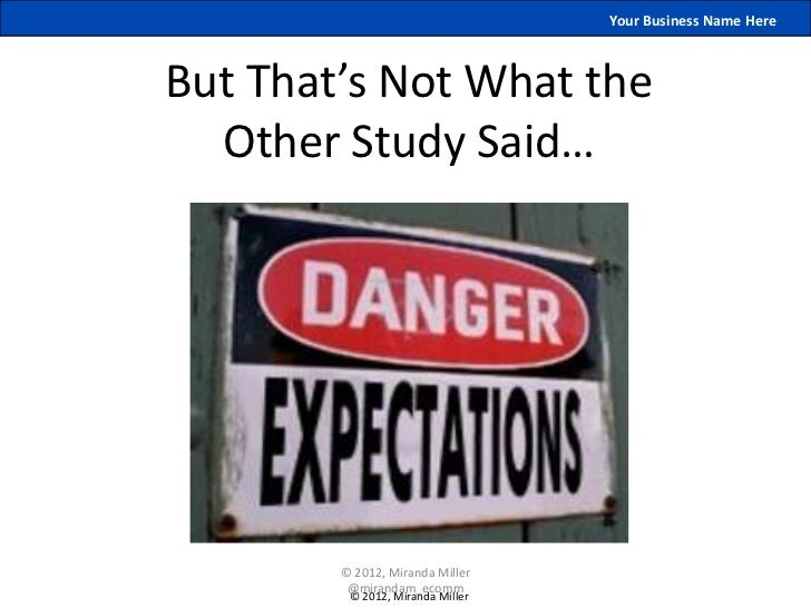 Your Business Name HereBut That's Not What the  Other Study Said…        © 2012, Miranda Miller         @mirandam_ecomm   ...