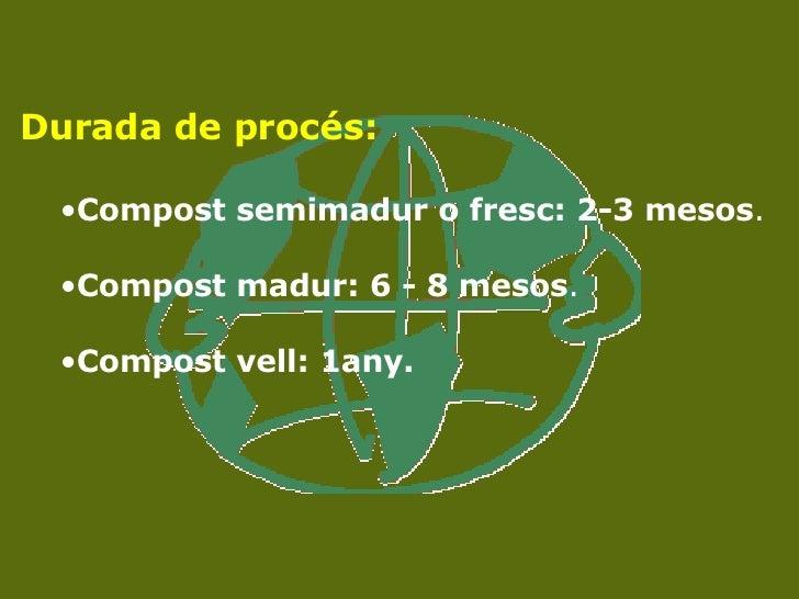 <ul><li>Durada de procés: </li></ul><ul><ul><li>Compost semimadur o fresc: 2-3 mesos .  </li></ul></ul><ul><ul><li>Compost...