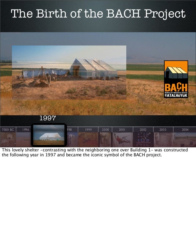 The Birth of the BACH Project  1997 7000 BC  1996  1997  1998  1999  2000  2001  2002  2003  2004  This lovely shelter -co...
