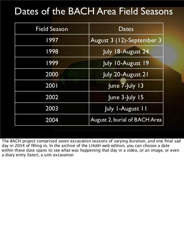 Dates of the BACH Area Field Seasons Field Season  Dates  1997  August 3 (12)-September 3  1998  July 18-August 24  1999  ...