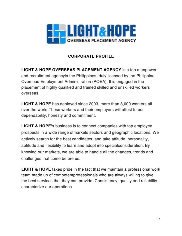 light  u0026 hope corporate profile