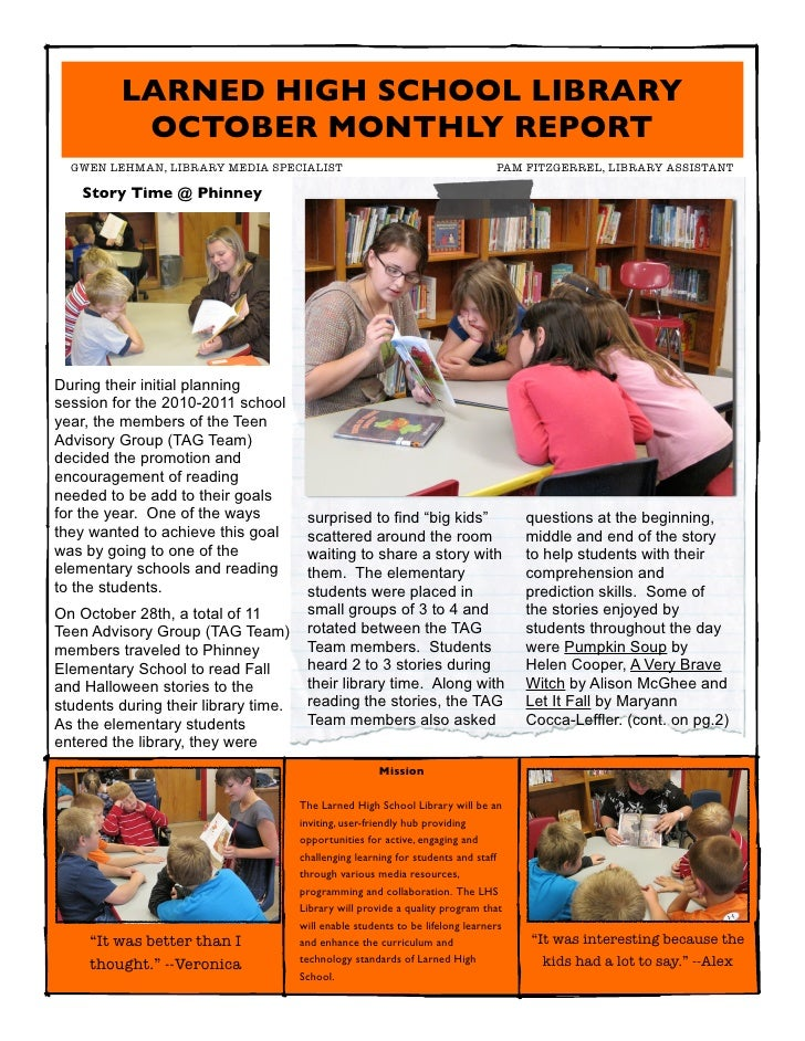 LARNED HIGH SCHOOL LIBRARY          OCTOBER MONTHLY REPORT  GWEN LEHMAN, LIBRARY MEDIA SPECIALIST                       ...