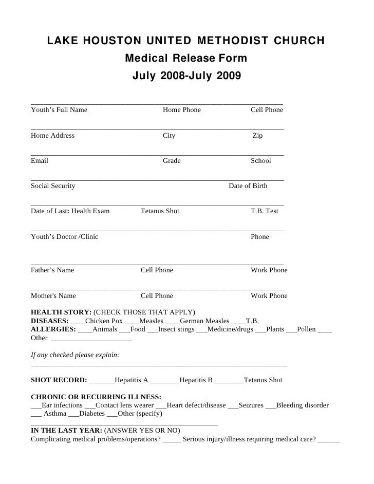 Lhumc Medical Release Form July 08 July 09. LAKE HOUSTON UNITED METHODIST  CHURCH ...