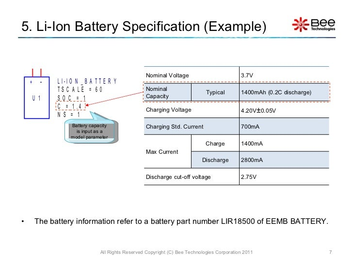 Simple model of Lithium Ion Battery (PSpice)