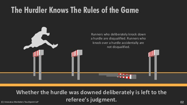 The Hurdler Knows The Rules of the Game Runners who deliberately knock down a hurdle are disqualified. Runners who knock o...