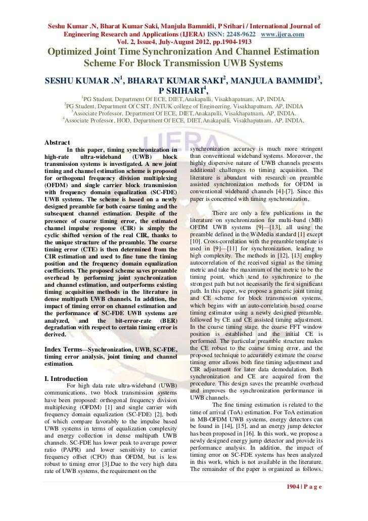 Seshu Kumar .N, Bharat Kumar Saki, Manjula Bammidi, P Srihari / International Journal of      Engineering Research and App...
