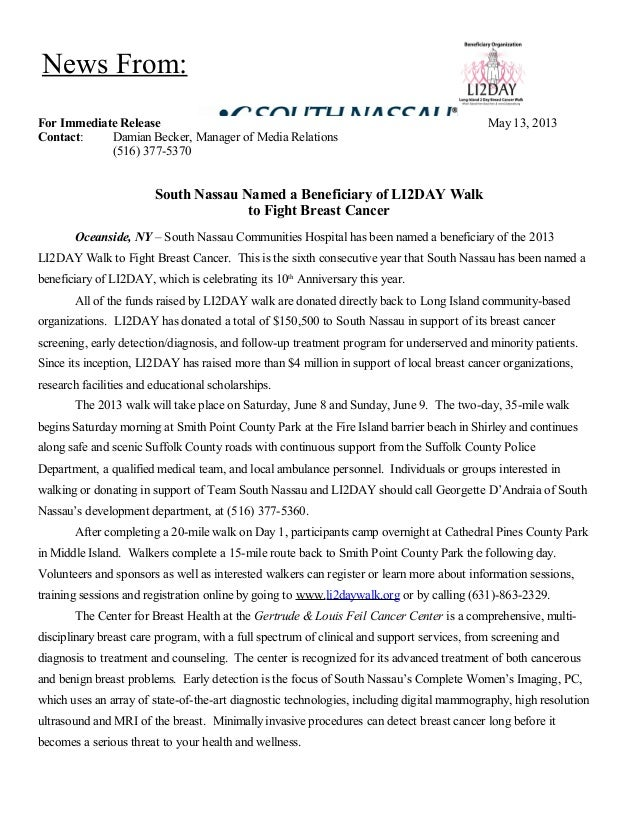 For Immediate Release May 13, 2013Contact: Damian Becker, Manager of Media Relations(516) 377-5370South Nassau Named a Ben...