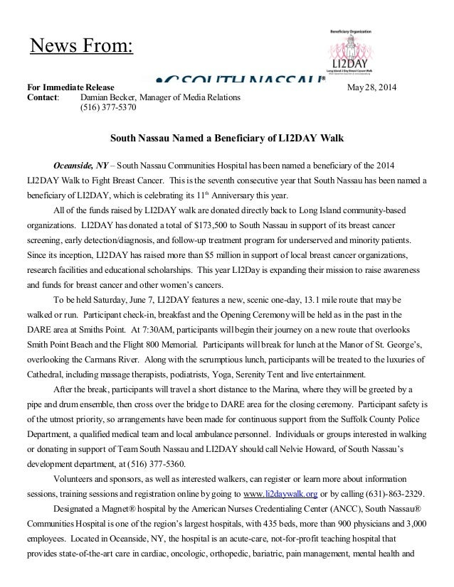 For Immediate Release May 28, 2014 Contact: Damian Becker, Manager of Media Relations (516) 377-5370 South Nassau Named a ...