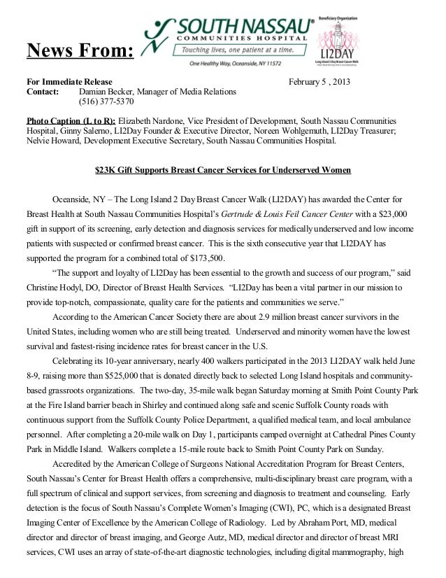 News From: For Immediate Release Contact: Damian Becker, Manager of Media Relations (516) 377-5370  February 5 , 2013  Pho...