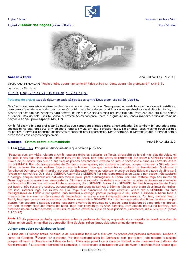 Lições Adultos Busque ao Senhor e Viva!Lição 4 - Senhor das nações (Amós e Obadias) 20 a 27 de abrilSábado à tarde Ano Bíb...