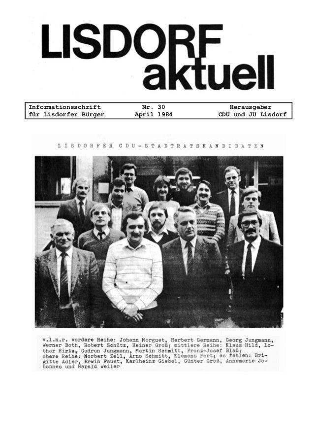 Informationsschrift Nr. 30 Herausgeber für Lisdorfer Bürger April 1984 CDU und JU Lisdorf