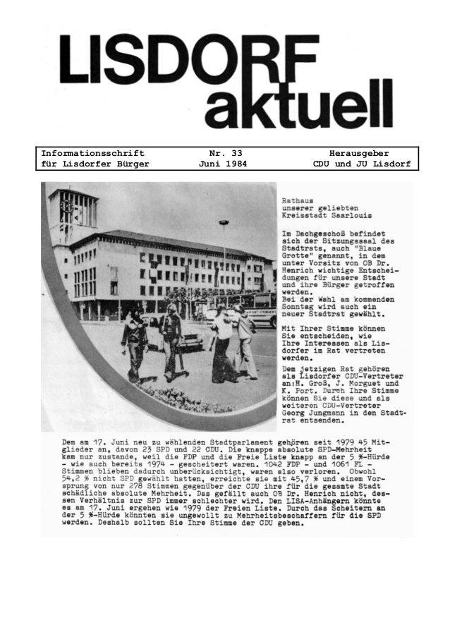 Informationsschrift Nr. 33 Herausgeber für Lisdorfer Bürger Juni 1984 CDU und JU Lisdorf