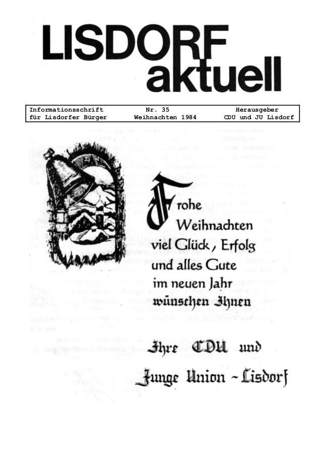 Informationsschrift Nr. 35 Herausgeber für Lisdorfer Bürger Weihnachten 1984 CDU und JU Lisdorf
