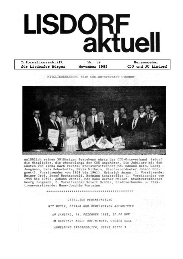 Informationsschrift Nr. 39 Herausgeber für Lisdorfer Bürger November 1985 CDU und JU Lisdorf