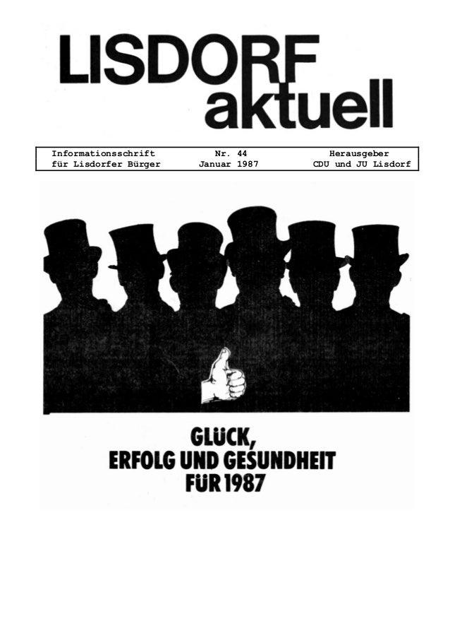 Informationsschrift Nr. 44 Herausgeber für Lisdorfer Bürger Januar 1987 CDU und JU Lisdorf