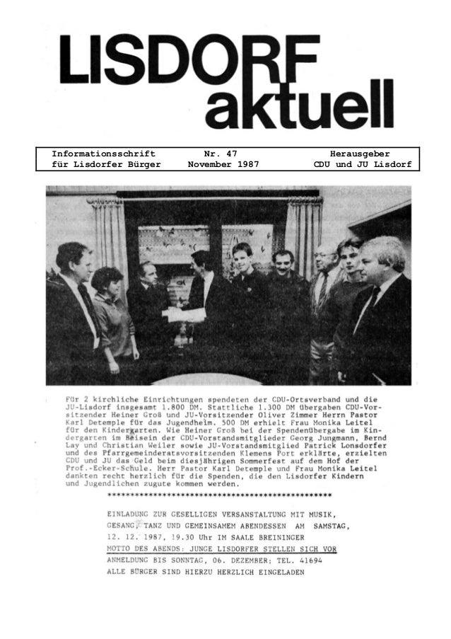 Informationsschrift Nr. 47 Herausgeber f�r Lisdorfer B�rger November 1987 CDU und JU Lisdorf