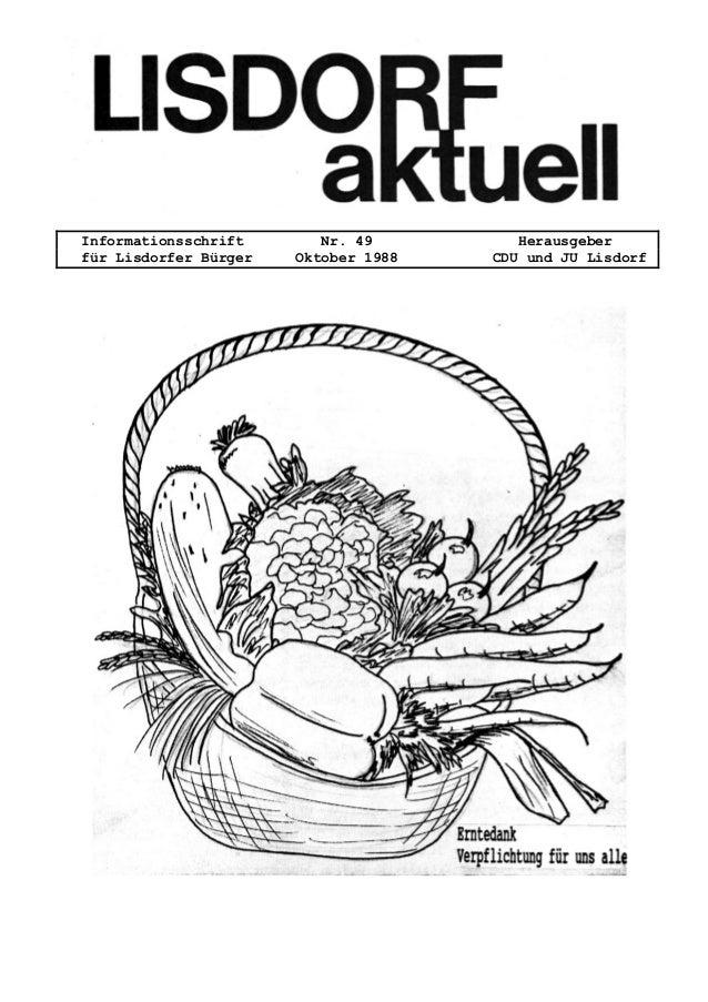 Informationsschrift Nr. 49 Herausgeber f�r Lisdorfer B�rger Oktober 1988 CDU und JU Lisdorf