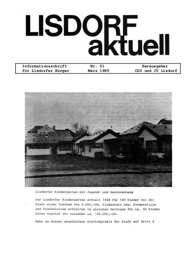 Informationsschrift Nr. 51 Herausgeber f�r Lisdorfer B�rger M�rz 1989 CDU und JU Lisdorf