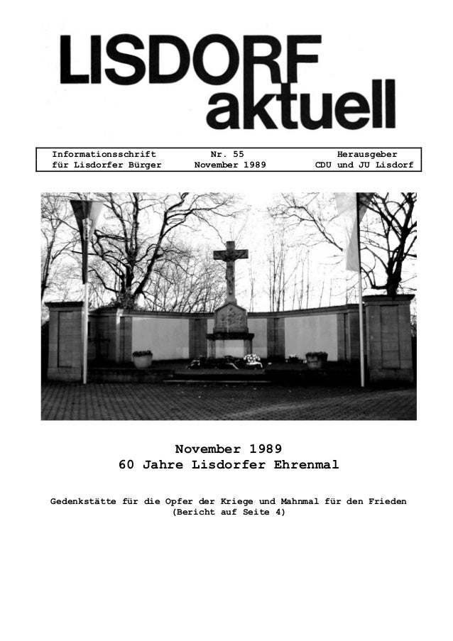 Informationsschrift Nr. 55 Herausgeber f�r Lisdorfer B�rger November 1989 CDU und JU Lisdorf November 1989 60 Jahre Lisdor...
