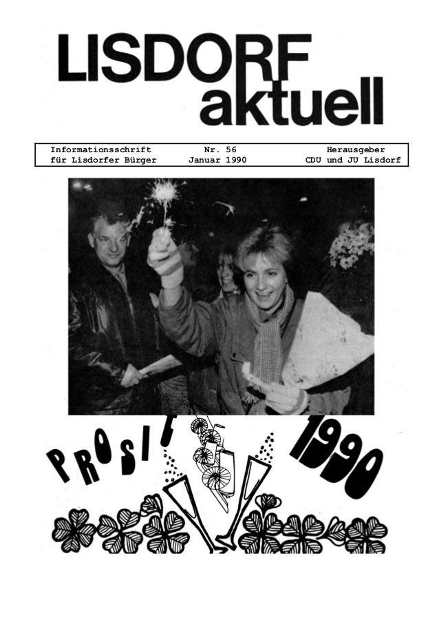 Informationsschrift Nr. 56 Herausgeber f�r Lisdorfer B�rger Januar 1990 CDU und JU Lisdorf