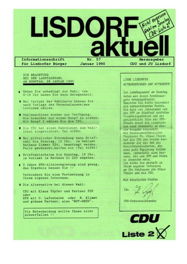 Informationsschrift Nr. 57 Herausgeber f�r Lisdorfer B�rger Januar 1990 CDU und JU Lisdorf