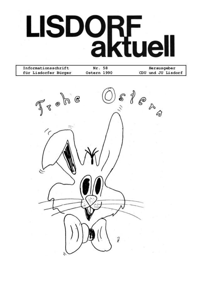 Informationsschrift Nr. 58 Herausgeber für Lisdorfer Bürger Ostern 1990 CDU und JU Lisdorf