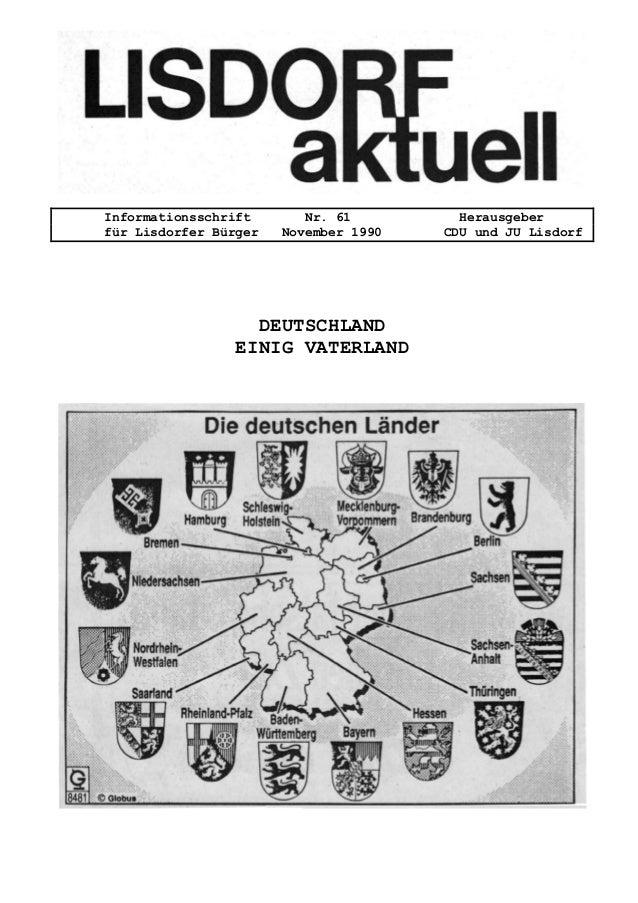 Informationsschrift Nr. 61 Herausgeber f�r Lisdorfer B�rger November 1990 CDU und JU Lisdorf DEUTSCHLAND EINIG VATERLAND
