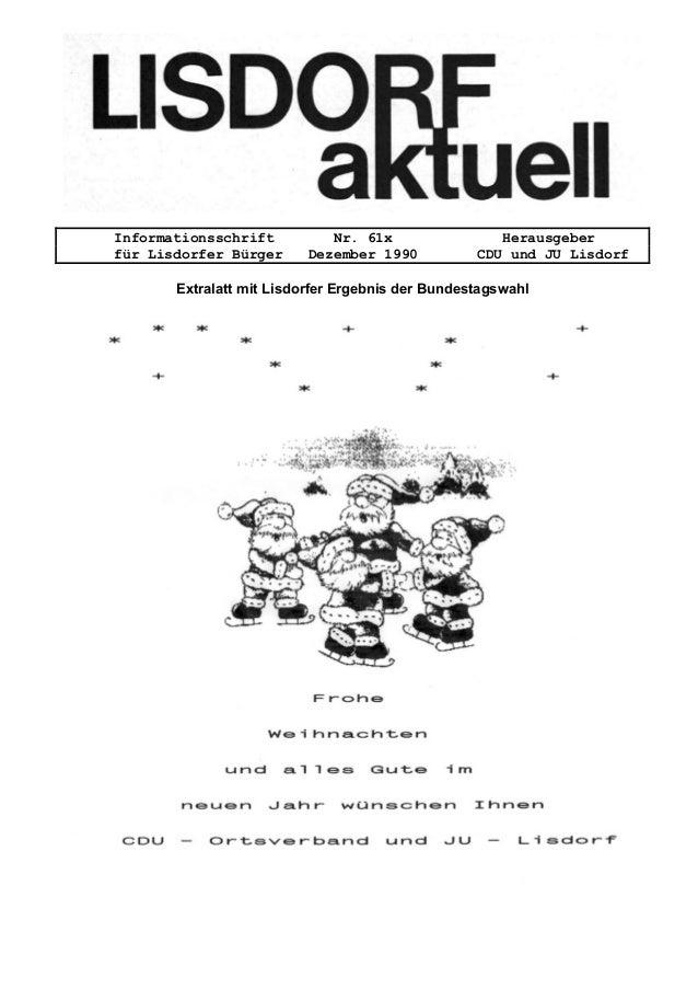Informationsschrift Nr. 61x Herausgeber f�r Lisdorfer B�rger Dezember 1990 CDU und JU Lisdorf Extralatt mit Lisdorfer Erge...