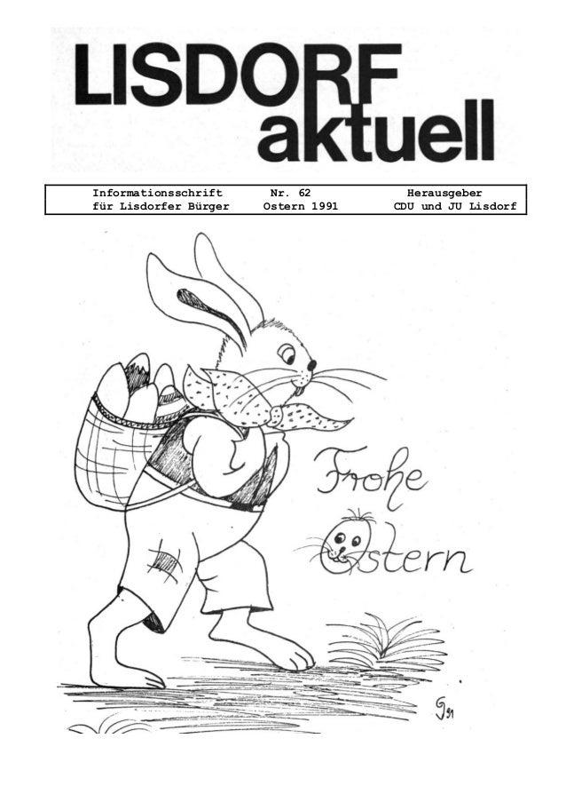 Informationsschrift Nr. 62 Herausgeber f�r Lisdorfer B�rger Ostern 1991 CDU und JU Lisdorf