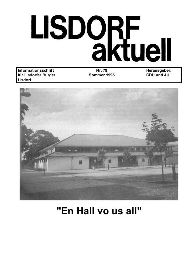 """Informationsschrift Nr. 79 Herausgeber: für Lisdorfer Bürger Sommer 1995 CDU und JU Lisdorf """"En Hall vo us all"""""""