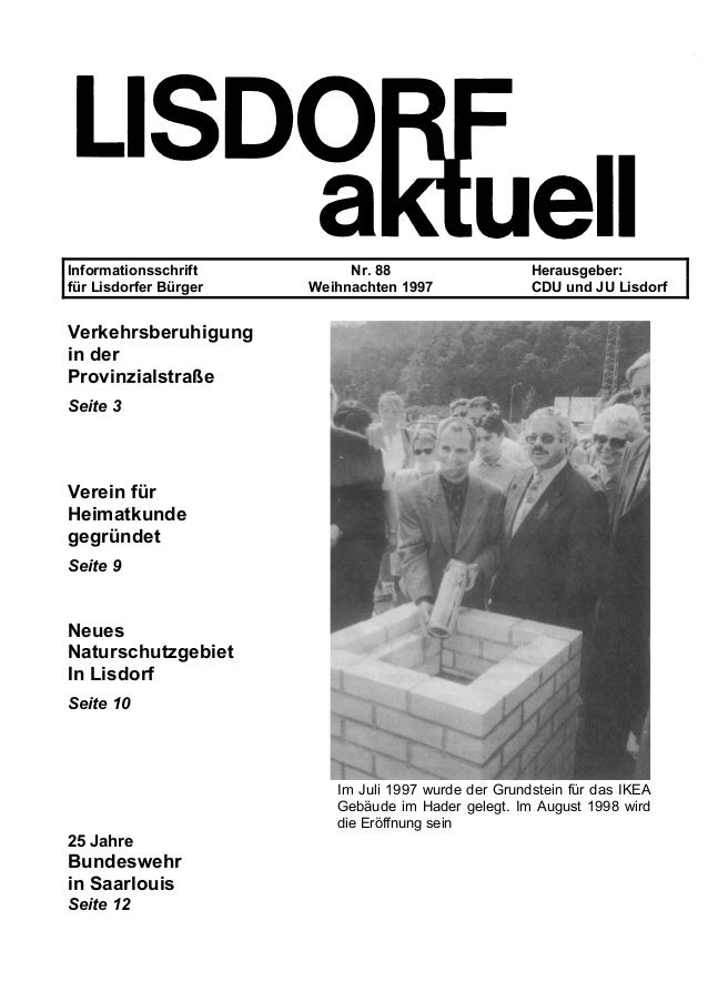Informationsschrift Nr. 88 Herausgeber: für Lisdorfer Bürger Weihnachten 1997 CDU und JU Lisdorf Verkehrsberuhigung in der...