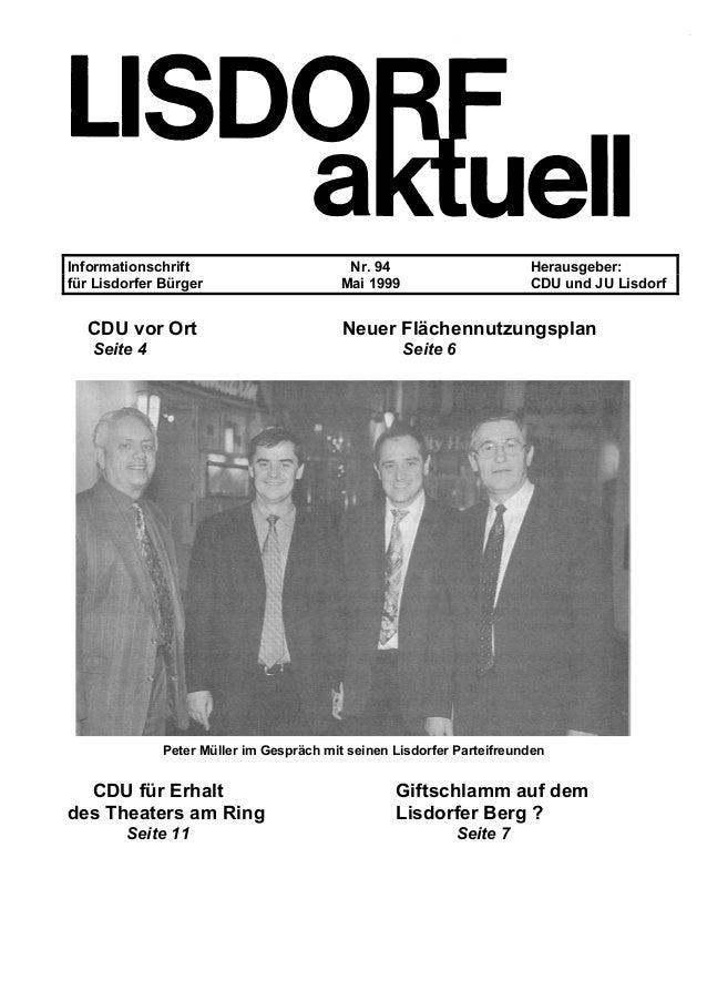 Informationschrift Nr. 94 Herausgeber: für Lisdorfer Bürger Mai 1999 CDU und JU Lisdorf CDU vor Ort Neuer Flächennutzungsp...