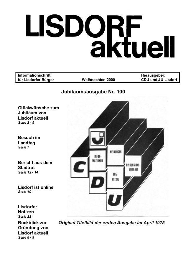 Informationschrift Herausgeber: für Lisdorfer Bürger Weihnachten 2000 CDU und JU Lisdorf Jubiläumsausgabe Nr. 100 Glückwün...