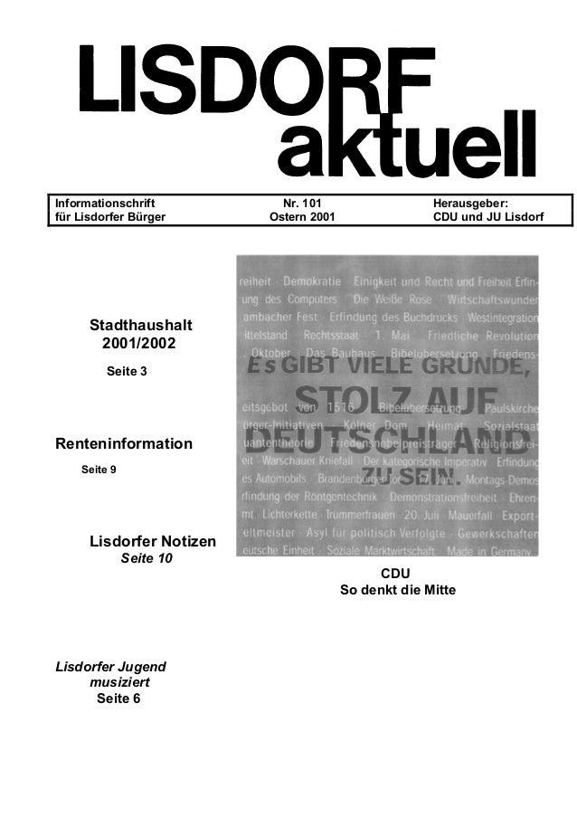 Informationschrift Nr. 101 Herausgeber: für Lisdorfer Bürger Ostern 2001 CDU und JU Lisdorf Stadthaushalt 2001/2002 Seite ...