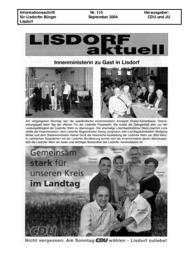 Informationsschrift Nr. 115 Herausgeber: für Lisdorfer Bürger September 2004 CDU und JU Lisdorf