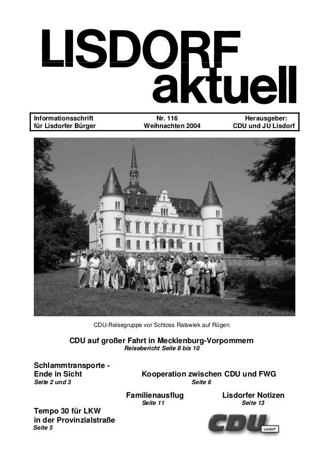 Informationsschrift Nr. 116 Herausgeber: für Lisdorfer Bürger Weihnachten 2004 CDU und JU Lisdorf CDU-Reisegruppe vor Schl...
