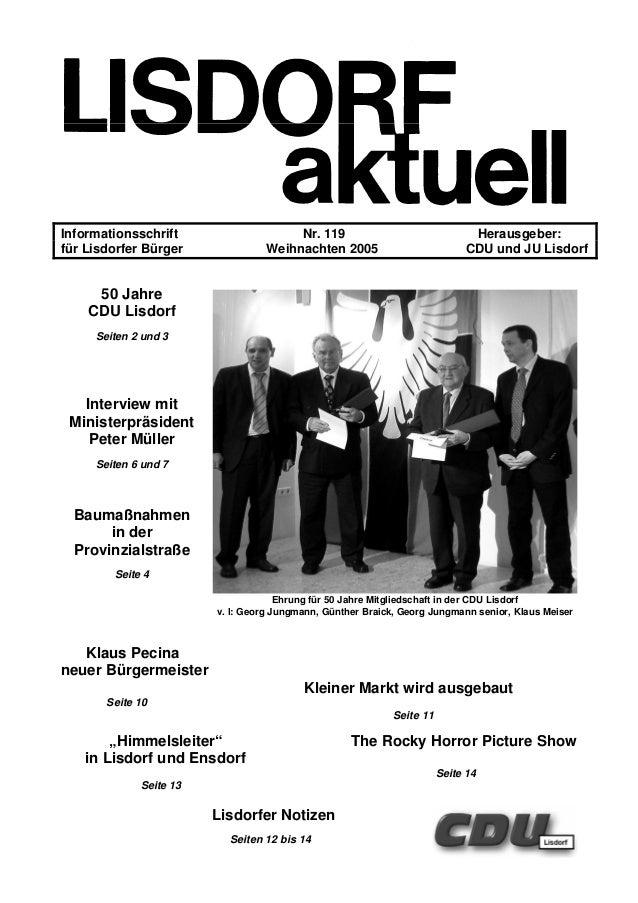 Informationsschrift Nr. 119 Herausgeber: für Lisdorfer Bürger Weihnachten 2005 CDU und JU Lisdorf 50 Jahre CDU Lisdorf Sei...