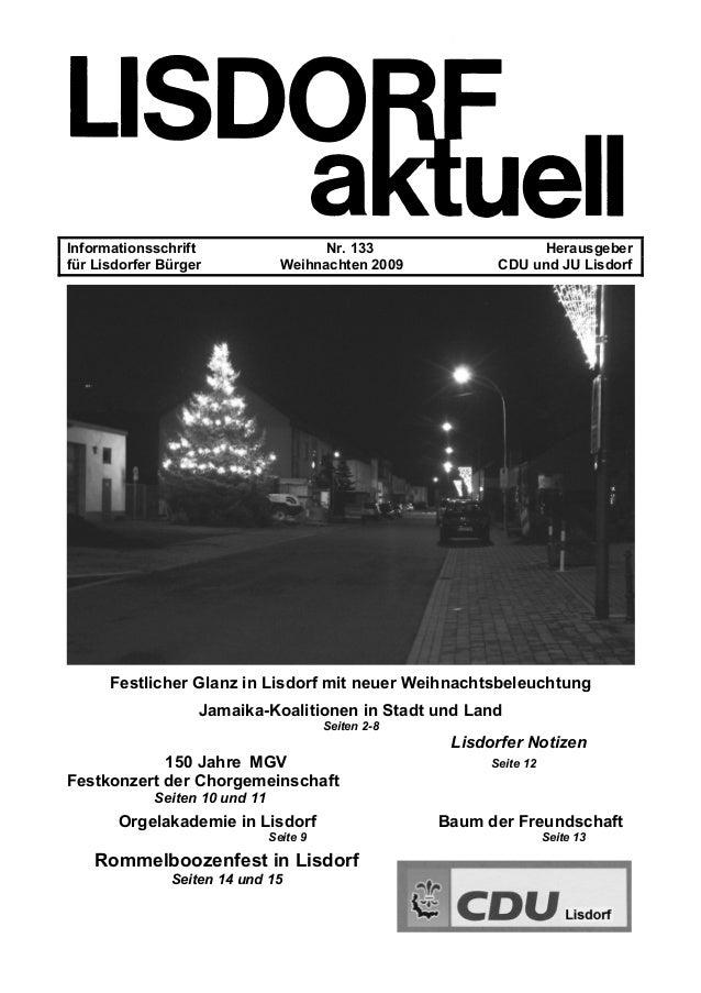Informationsschrift Nr. 133 Herausgeber für Lisdorfer Bürger Weihnachten 2009 CDU und JU Lisdorf Festlicher Glanz in Lisdo...