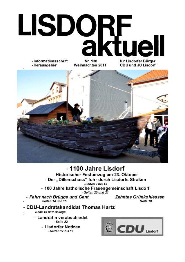 - -Informationsschrift Nr. 138 für Lisdorfer Bürger -Herausgeber Weihnachten 2011 CDU und JU Lisdorf - - - 1100 Jahre Lisd...