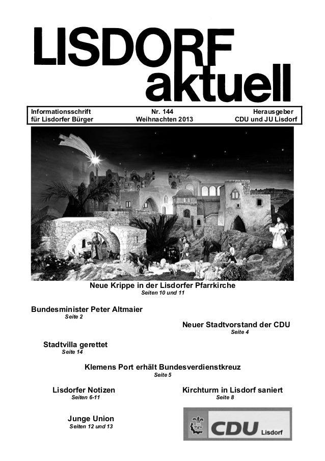 Informationsschrift Nr. 144 Herausgeber für Lisdorfer Bürger Weihnachten 2013 CDU und JU Lisdorf Neue Krippe in der Lisdor...