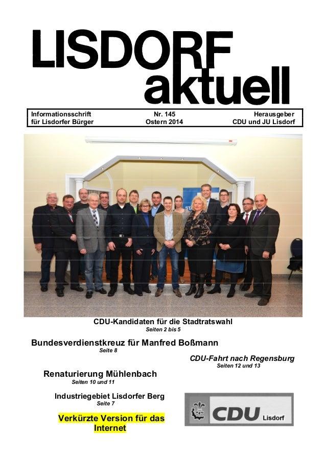 Informationsschrift Nr. 145 Herausgeber für Lisdorfer Bürger Ostern 2014 CDU und JU Lisdorf CDU-Kandidaten für die Stadtra...