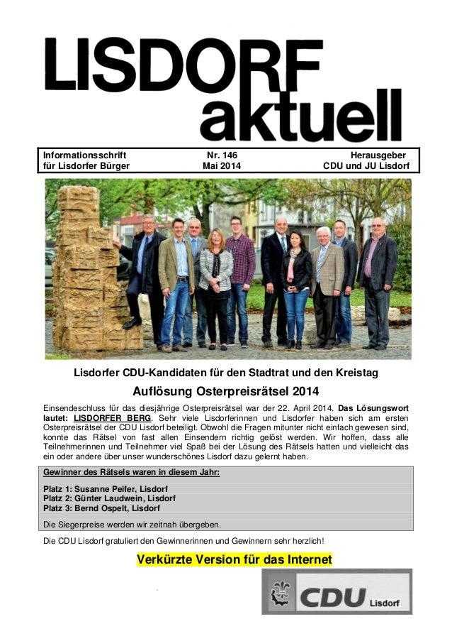 - Informationsschrift Nr. 146 Herausgeber für Lisdorfer Bürger Mai 2014 CDU und JU Lisdorf Lisdorfer CDU-Kandidaten für de...