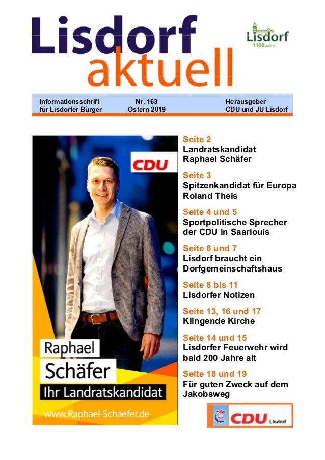 Seite 2 Landratskandidat Raphael Schäfer Seite 3 Spitzenkandidat für Europa Roland Theis Seite 4 und 5 Sportpolitische Spr...