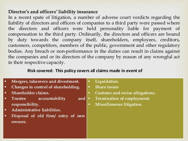 Director's and officers' liability insurance In a recent spate of litigation, a number of adverse court verdicts regarding...
